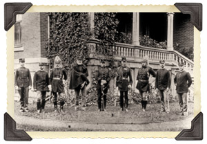 Troops in front of                                     Crook House