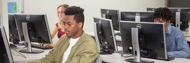 MCC students on computers