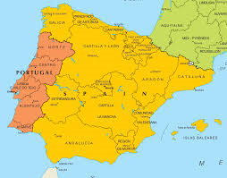Map image of Portugal and Spain